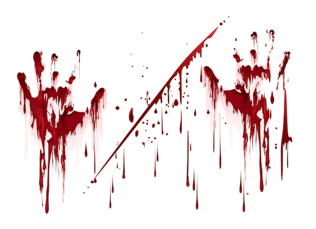 Bloody hand prints with blood drops Premium Vector