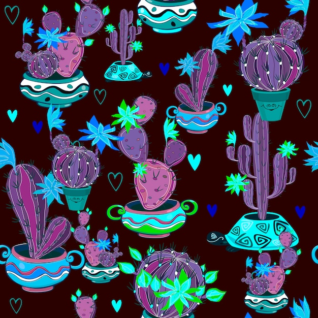 Blooming cacti in funny pots seamless pattern Premium Vector