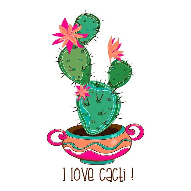Blooming cactus in a clay pot Premium Vector