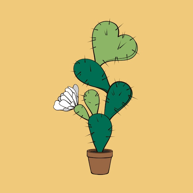 Blooming cactus with heart Premium Vector