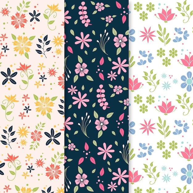 カラフルな花が咲くフラットデザイン春パターン Premiumベクター