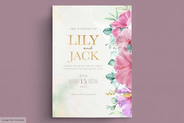 咲く花のウェディングフレームカード 無料ベクター