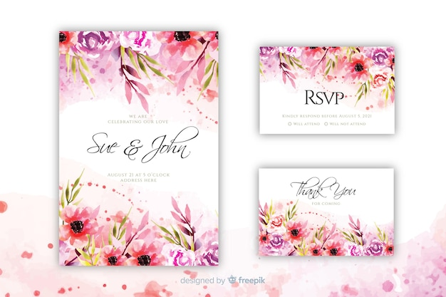 Blooming floral wedding invitation template Premium Vector