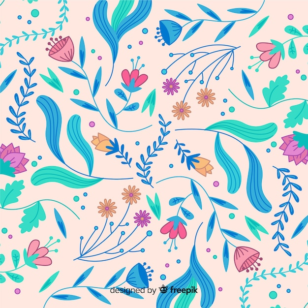Blooming hand-drawn floral background Free Vector