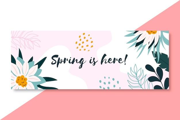 咲く手描きの春のfacebookのカバーテンプレート 無料ベクター
