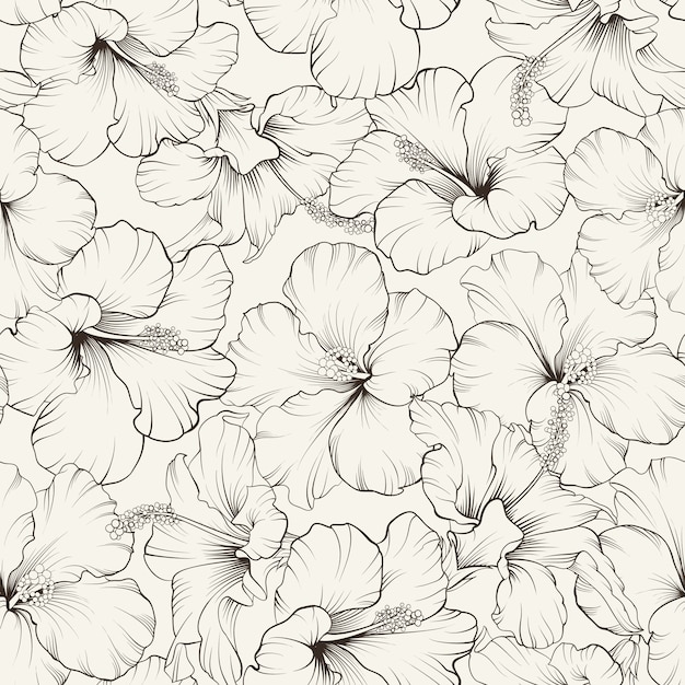 Blooming hibiscus seamless pattern Free Vector