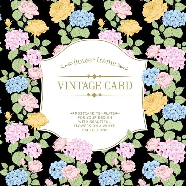 咲くアジサイフレームカード。 無料ベクター