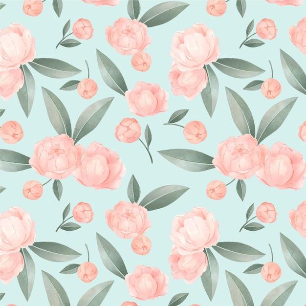 Цветущий розовый акварельный цветочный узор Бесплатные векторы