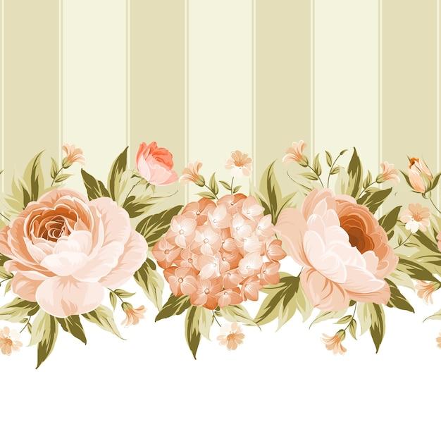 咲くバラとアジサイフレームカード。 無料ベクター