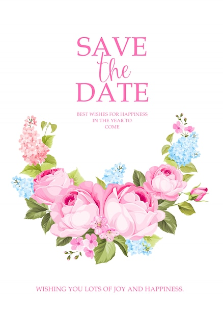 Blooming rose branch for save the date card. Premium Vector