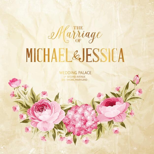 Carta cornice matrimonio rosa e ortensie in fiore. Vettore gratuito