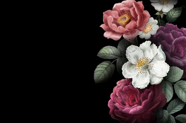 Blooming roses banner Free Vector