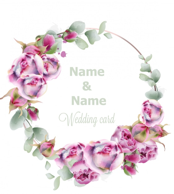 Blooming roses wedding wreath watercolor Premium Vector