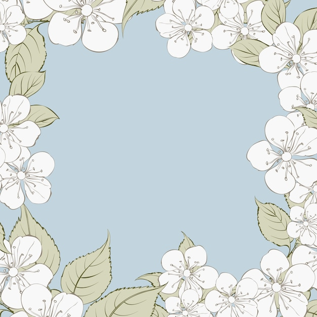 Blooming sakura rectangle frame background. Premium Vector