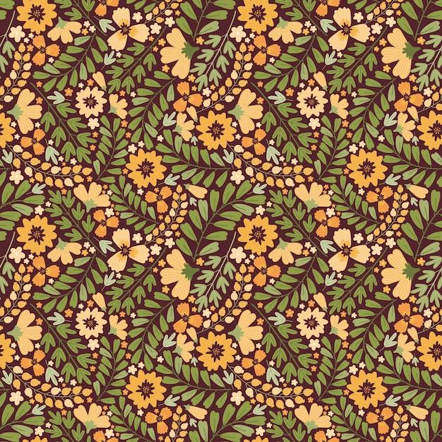 咲くシームレスパターン。さまざまな黄色い花、つぼみ、葉、茎がたくさん。スカンジナビアスタイル。 Premiumベクター