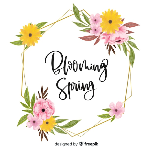 Blooming spring frame with floral design Free Vector