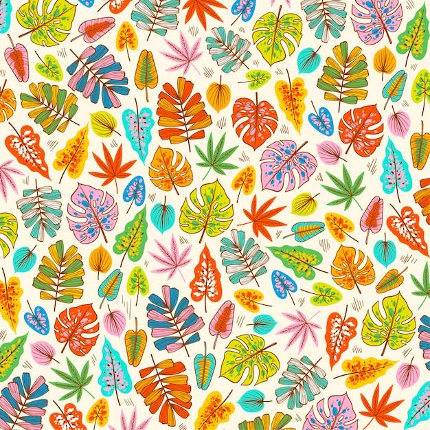 패브릭 패턴에 피는 봄 잎 프리미엄 벡터