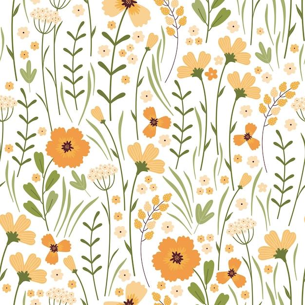 咲く夏の牧草地のシームレスなパターン。白い背景に花柄を繰り返します。フィールドには、さまざまな野生の黄色い花、つぼみ、葉、茎がたくさんあります。リバティミレフルー。スカンジナビアスタイル Premiumベクター