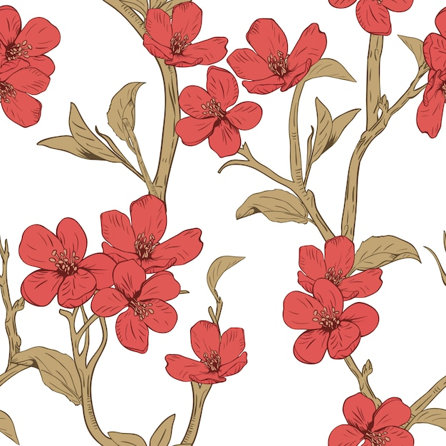 Blooming tree. seamless pattern with flowers. Premium Vector