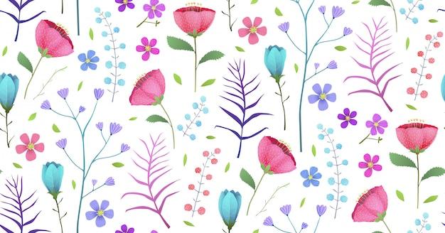 咲く熱帯の花夏のシームレスパターン Premiumベクター