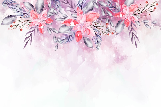 Blooming watercolor flowers for wallpaper concept Free Vector