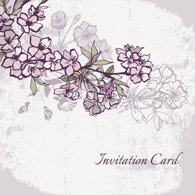 Blossom cherry or sakura wedding invitation card Free Vector