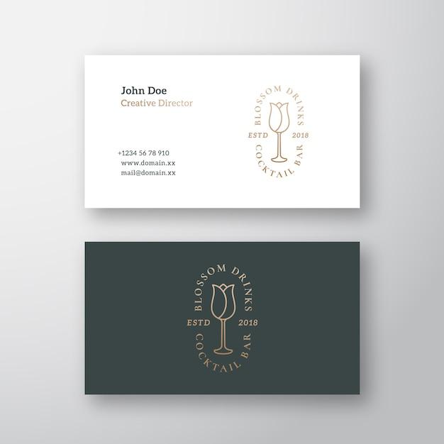 Коктейль-бар blossom drinks абстрактный векторный логотип и шаблон визитной карточки Бесплатные векторы