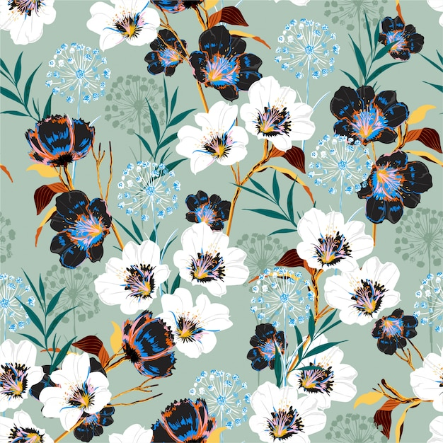 Blossom floral pattern in the blooming many kind botanical motifs Premium Vector