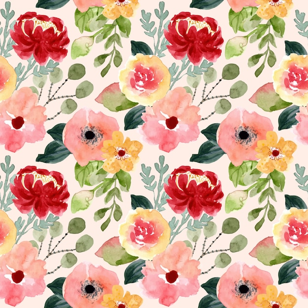 Blossom flower watercolor seamless pattern Premium Vector