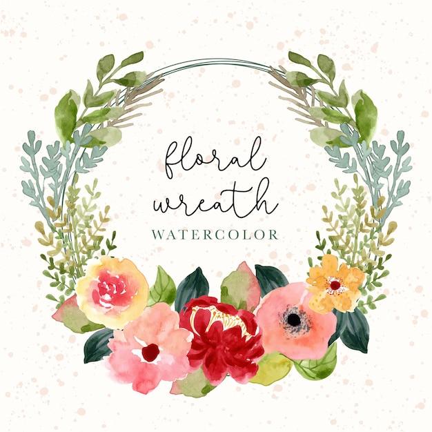 Blossom watercolor flower wreath Premium Vector