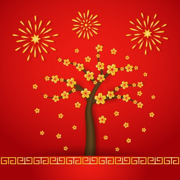 happy new year background new years party crowd blossoming tree and fireworks