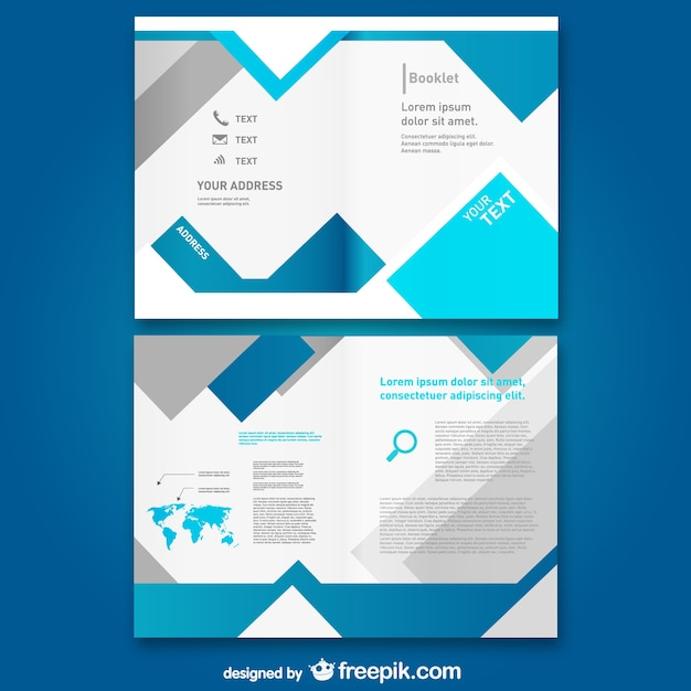Bloue Booklet Template Vector Free Download - Free brochure templates download