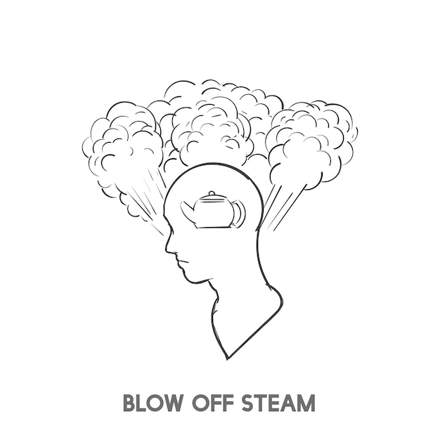 Blow off steam idiom vector Free Vector