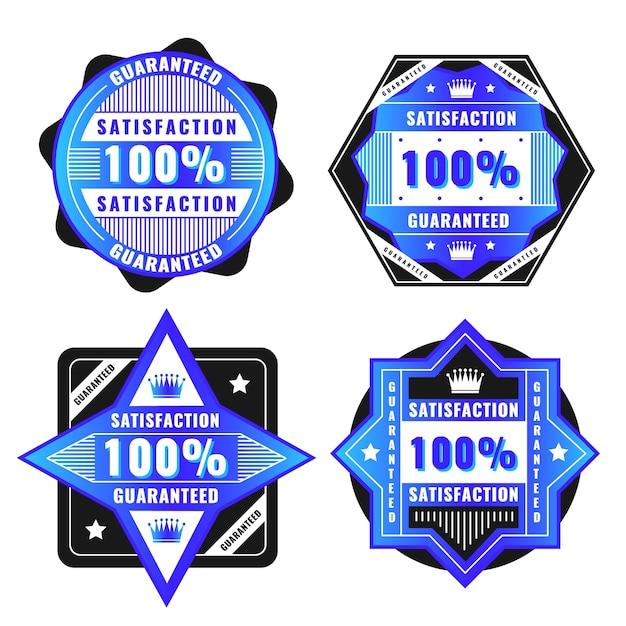 Коллекция этикеток с синей 100% гарантией Бесплатные векторы