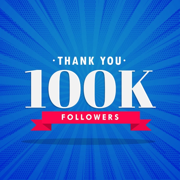 Blue 100k followers design Free Vector