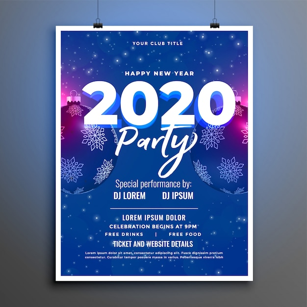 Blue 2020 party celebration new year flyer or poster  template Free Vector