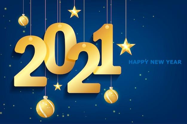 白地に青2021年新年。メリークリスマスのグリーティングカード。バックグラウンド。カレンダー2021。お祝いのイベントバナー。ロゴデザイン。白色の背景。ブルークリスマスの夜の背景。 Premiumベクター