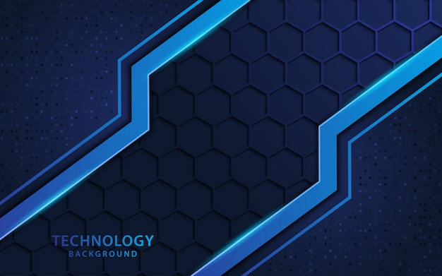 Blue 3d background with technology style and hexagon shapes texture. Premium Vector