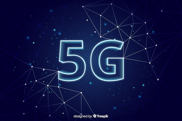 Blue 5g concept background Free Vector