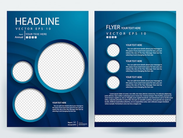 Blue a4 brochure layout template with circle photo for Free brochure layout template