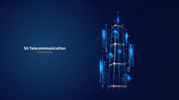 Blue abstract 3d isolated 5g antenna on innovation technology background. low poly wireframe digital vector. polygons and connected dots. internet telecommunication tower futuristic concept. Premium Vector
