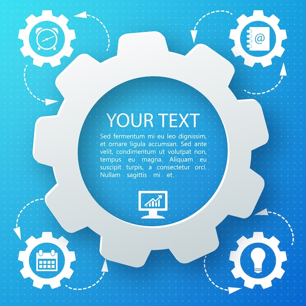 Blue abstract background with business icons and your text in middle flat Free Vector