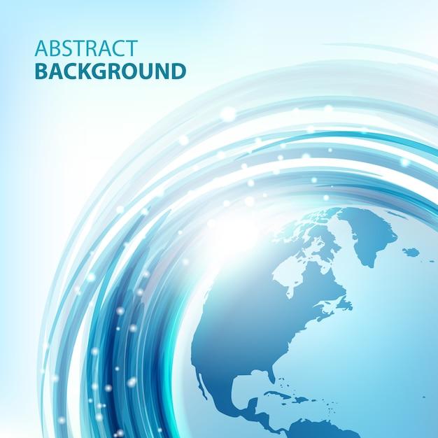 Синий абстрактный фон с землей. круглый эко-дизайн. абстрактный фон для бизнес-презентаций. вектор Premium векторы