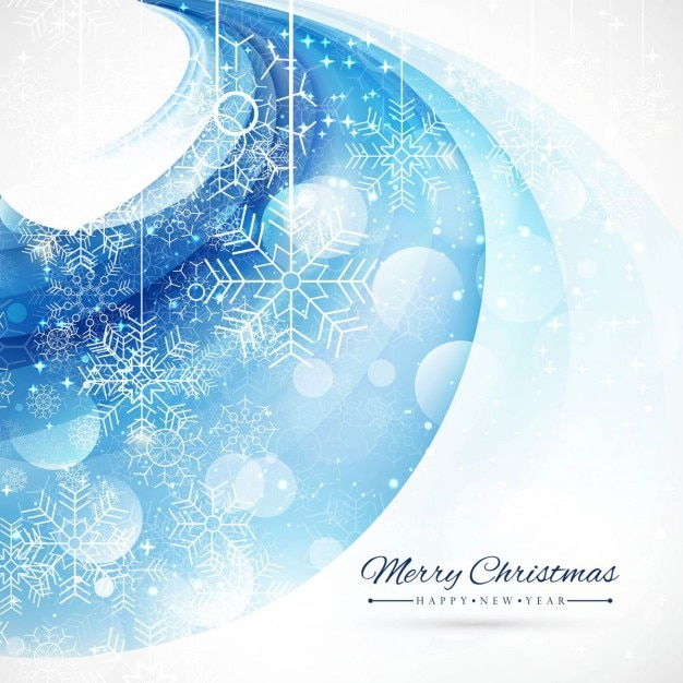 Blue abstract background with snowflakes Free Vector