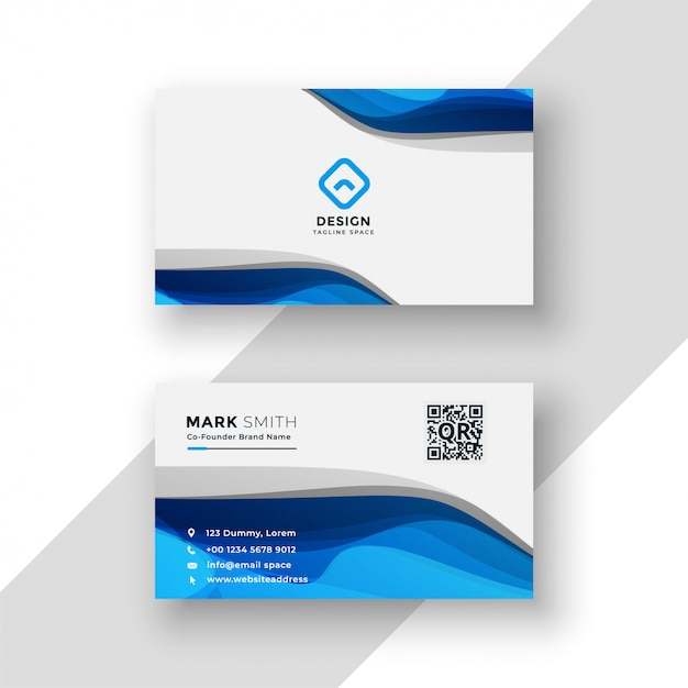 Blue abstract business card modern template Free Vector