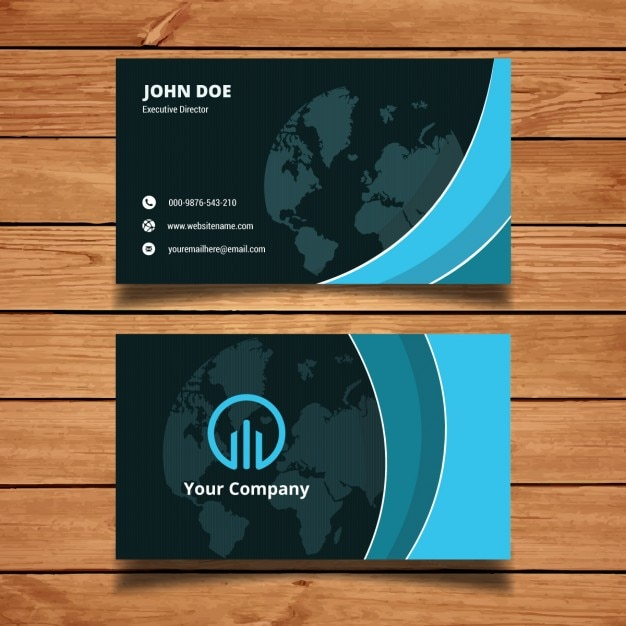Blue abstract business card template vector free download for Blue business card template