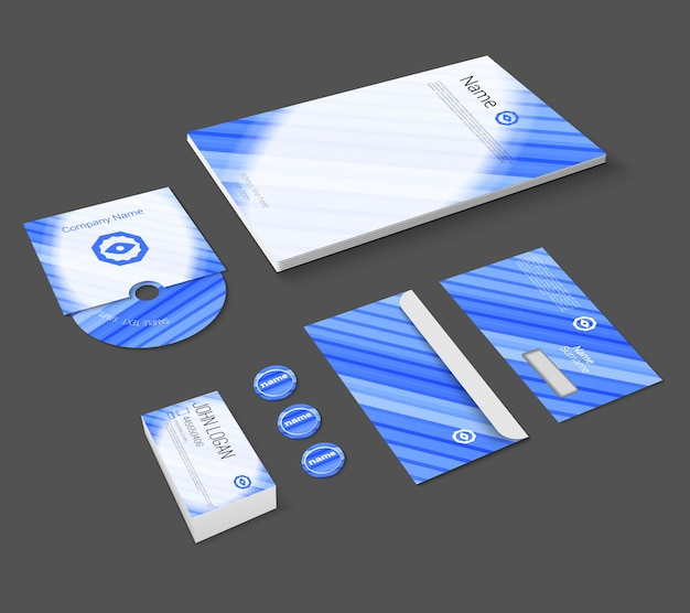 Blue abstract business company stationery template for corporate identity and branding set isolated vector illustration