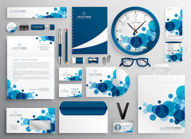 Blue abstract business stationery set Free Vector