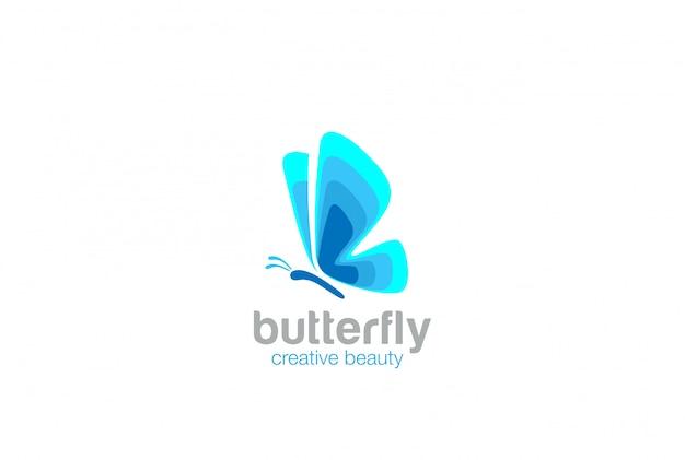 Синий абстрактный бабочка логотип значок. Бесплатные векторы