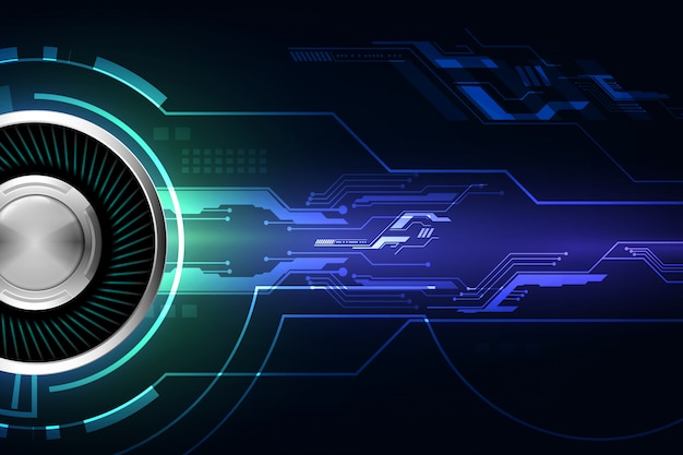 Blue abstract cyber future technology concept background Premium Vector